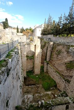 Pools of Bethesda southern pool from west, Jerusalem.