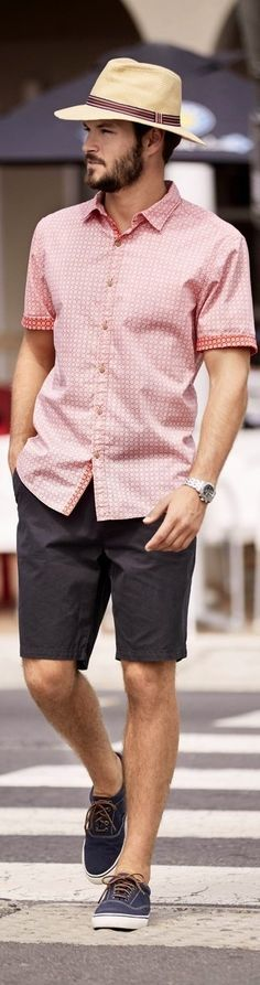 For an everyday outfit that is full of character and personality choose a dusty pink short sleeve shirt and black shorts. Navy plimsolls are a great choice to complete the look.