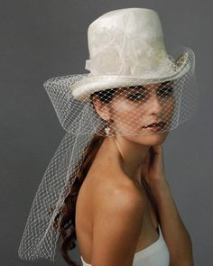 Model with a gorgeous bridal hat and veil Fascinator Hats, Fascinators, Headpieces, Bridal Hat, Wedding Hats, Wedding Veils, Hats For Weddings, Wedding Dress, Fancy Hats