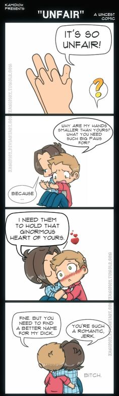 a comic by KamiDiox. I do not ship the brothers, but this is like brotherly love so I like them goofing around.