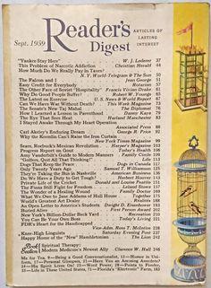 """SEPTEMBER 1959 """"Reader's Digest"""" - SEARS, ROEBUCK - JANE ADDAMS - CARL AKELEY"""