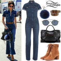 Kendall Jenner leaving a studio in Van Nuys. Frame Denim Le Flare de Francoise Jumper ($339.00) with a belt similar to this from Walmart ($6.50), Ahlem Eyewear Bastille Sunglasses ($450.00), a Balenciaga Classic City Leather Tote Bag ($1,385.00) with a Fendi Pon Pon Keyring (Sold Out), and a pair of Gianvito Rossi Suede Ankle Boots ($1,026.00). You can find a similar jumpsuit at ASOS ($63.00).