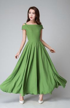 off shoulder dress Green dress full length dress by xiaolizi