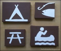 The Thriftiness Miss: Canvas Camping Symbol Art