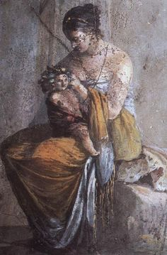 Infant Dionysus in the lap of a nymph    Found in the Villa of the Faun, Pompeii, 1st century AD
