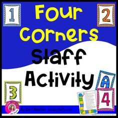 Four Corners Staff Activity by Lead Joyfully - Gail Boulton Team Building Questions, Team Building Skills, Team Building Activities For Adults, Get To Know You Activities, School Staff, School Counselor, Middle School, Meeting Games, Faculty Meetings