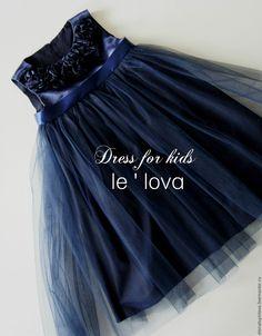 Купить Детское платье цвет Полночный синий - тёмно-синий, однотонный, нарядное платье, для девочки