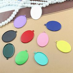 10pcs  Colorful spray paint Cabochon Base Charm for by ministore, $2.95