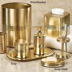 A gold brushed finish makes these brilliant bath accessories the crowning Jewel of your bathroom decor. Each metal accessory features a smooth texture. Gold Bathroom Accessories, Bathroom Sets, Beautiful Bathrooms, Soap Dispenser, Lotion, Bronze, Rose Gold, Jewels, Metal