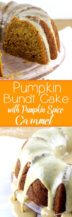 This Pumpkin Bundt Cake with Pumpkin Spice Caramel is so moist and packed with flavor. The pumpkin spice caramel is the perfect finishing touch for this fall favorite. | Everydaymadefresh.com http://www.everydaymadefresh.com/pumpkin-bundt-cake-pumpkin-spice-caramel/
