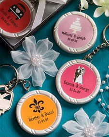 Personalized wedding key chains for favors