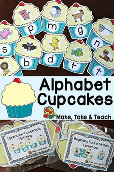 Alphabet Cupcakes – Make Take & Teach Alphabet Cupcakes- great for independent centers or for small group instruction! Two activities in one- upper- to lowercase matching and beginning sounds. Kindergarten Centers, Preschool Letters, Kindergarten Literacy, Early Literacy, Literacy Centers, Abc Centers, Alphabet Activities, Language Activities, Literacy Activities