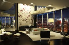 Apartment, Lavish Dull Living Room Decor Ideas Below High Ceiling Architecture And Stands Free Straight Line Sofa On Monotone Rug ~ Groovy Small Apartment Design Showing a Cozy Home in Humble Design