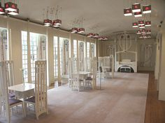 Rennie Mackintosh's House for an Art Lover, Glasgow - that piano in the back looks like a canopy crib