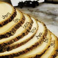 Large Rustic Wood Tree Slice Centerpieces, Trivets, Hot plates, Chargers - Personalized - 9-12 inch diameter by RoxyHeartVintage on Etsy https://www.etsy.com/listing/120540870/large-rustic-wood-tree-slice