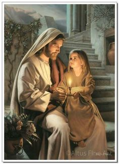 Artwork: Greg Olsen... Kinda looks like one of the 10 virgins, young and with a brand new lamp