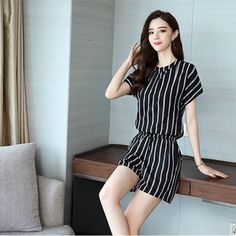 Buy O Neck Fashion Top Striped Loose Shorts 2 Piece Dress and lot Latest Fashion Trends Online Shopping in UAE Dubai with Best price for Women Dresses, Sandals, Handbags, Jewelry and Watches Buy Now from BusinessArcade On Cash on Delivery. Mini Dresses For Women, Loose Shorts, Chiffon Maxi Dress, Fashion Top, Skirt Outfits, Green Dress, Latest Fashion Trends, Short Sleeve Dresses, Tops