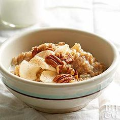 Tender quinoa, sweet pears, and crunch pecans meet in this hearty oatmeal-like dish.