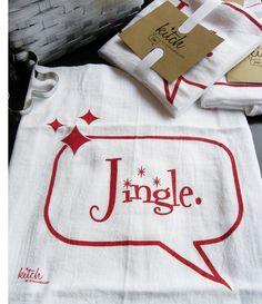 Retro Christmas Jingle Tea Towel Holiday Flour Sack Dish Cloth Red and White Kitch Kitsch
