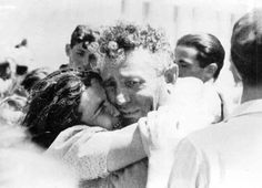 Jewish husband and wife - separated by the Nazis since 1941 - reunited in Haifa - May 1946.