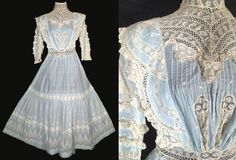 Vintage 1900's ANTIQUE DRESS Rare Light Blue Edwardian EMBROIDERED Gown Crochet #Unbranded