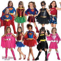 Girls superhero fancy dress costume kids