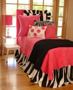 Tween/Teen Bedding | Pink Pride with Black and White Stripes - Sweet and Sour Kids