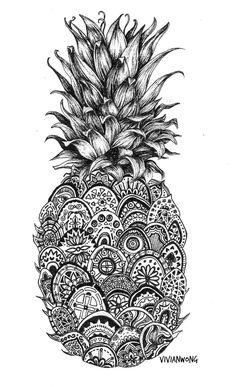 pineapple-zentangle-black-and-white-pen-drawing-prints.jpg (700×1149)