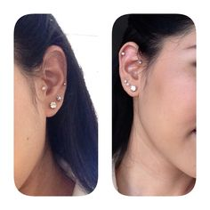 My both side piercings, left: tragus, lobe and right: forward helix, lobe and cartilage. Absolutely love it:) i've 7 done in a couple of months, very painful but with good care now it's a lot better.