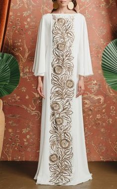Tree Of Life Embroidered Caftan by Amelia Brown Fall Winter 2018
