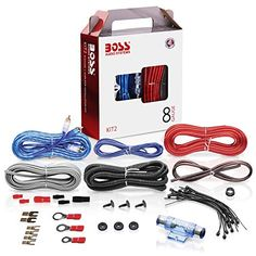 BOSS Audio Systems 8 Gauge Amplifier Installation Wiring Kit - A Car Amplifier Wiring Kit Helps You Make Connections and Brings Power To Your Radio, Subwoofers and Speakers - Cool Electronics Class D Amplifier, Stereo Amplifier, Stereo Speakers, Car Accessories, Cell Phone Accessories, Best Subwoofer, Boss Audio, Rubber Grommets, Car Audio Systems