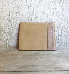 Leather Wallet  Men Vtg 80s  Erreuno Armani  Simple Classic Natural  light brown