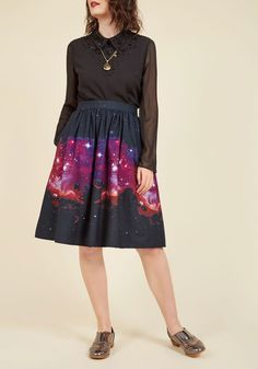 Trust your inner fashionista and take a stylish chance on this navy blue skirt! Crafted into a gathered-waist silhouette and patterned with white-and-magenta images taken by a space telescope, this pocketed piece from our ModCloth namesake label adds aplomb to your aesthetic.