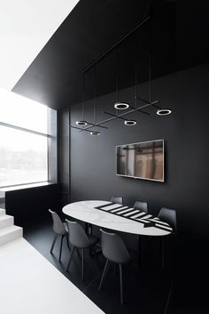 Office Design Black And White - Office Showroom Interior Design, Black Interior Design, Modern Interior, Black And White Office, Black And White Interior, Minimalist Interior, Minimalist Design, Home Office, Desk Office