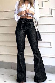 Denim Flare Jeans, Denim Flares, Flare Pants, Wide Leg Jeans, High Jeans, High Waist Jeans, Skinny Jeans, Women's Jeans, Black Jeans