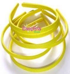 Tiara forrada Média Amarelo Key - Pct com 3
