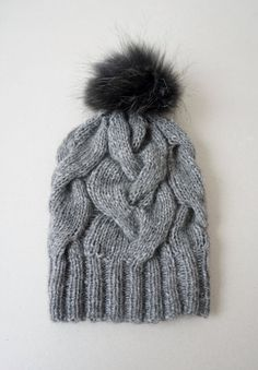 Cable Knit Alpaca Yak and Merino Hat / Women Chunky Knit by Imunde