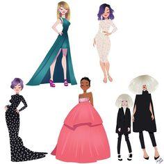«My favorite #dresses from this years #grammy #awards. #taylorswift #katyperry #kellyosbourne #Rihanna #sia #girlsinanimation #drawing #awardseason» силуэты одежда