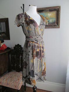 MAEVE ANTHROPOLOGIE 100% Silk Multi-color Floral Print Faux Wrap Dress Size 2P #Maeve #WrapDress #WeartoWork