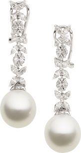 South sea pearl diamond white gold earrings