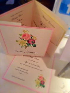 Vintage rose style pocketfold invitations in rose pink and natural cream textured card. By Made Marvellous