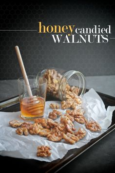 Honey Candied Walnuts by Shutterbean Vegan Snacks, Healthy Snacks, Snack Recipes, Easy Recipes, Walnut Recipes, Honey Recipes, Cake Pops, Honey Candy, Healthy Afternoon Snacks