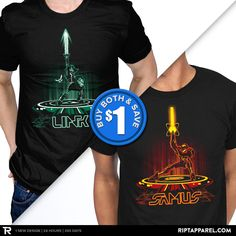 "Get ""LINK"" ""SAMUS"" from artist DJKopet today only, March 19, for $10 at RIPT Apparel. www.riptapparel.com"