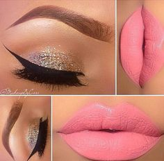 Pretty eye and lip color. Lip could be exchanged for a berry or classic red for a holiday party