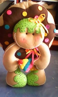 Doughnut boy, how cute is he? Christmas Makes, Christmas Candy, Christmas Time, Christmas Wreaths, Christmas Crafts, Xmas, Christmas Ornaments, Gingerbread Crafts, Gingerbread Decorations