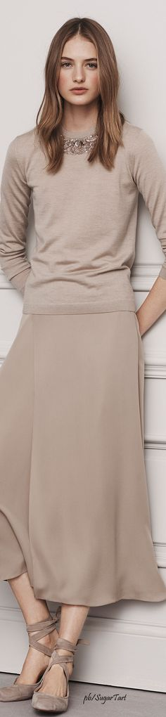 Ralph Lauren Pre-Fall 2016 - Wish the skirt was a floral print of some sort.  Needs some color.