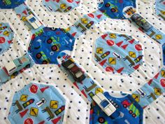 Work Truck Traffic a handmade baby keepsake quilt for boys designed by The Baby Quilt Lady http://uniquebabyquiltboutique.com/