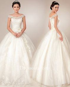 Off The Shoulder Ball Gown Wedding Dresses | ... Wedding > Ivory Lace Tulle Off-the-shoulder Ball Gown Wedding Dress