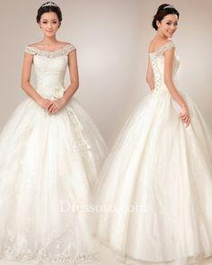 Off The Shoulder Ball Gown Wedding Dresses | ... Wedding > Ivory Lace Tulle Off-the-shoulder Ball Gown Wedding Dress