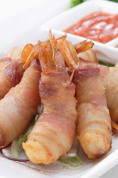 Bacon Wrapped Shrimp Appetizer Recipe - Quick and easy 24 minute recipe with only 2 ingredients! Gluten free and low carb Shrimp Appetizers, Shrimp Dishes, Appetizer Recipes, Recipes Dinner, Appetizer Ideas, Bacon Recipes, Seafood Recipes, Cooking Recipes, Healthy Recipes